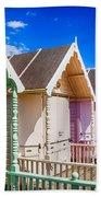 Pastel Beach Huts 3 Beach Towel