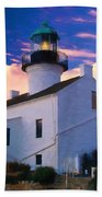 Pastel Drawing Old Point Loma Lighthouse Cabrillo National Monument California Beach Towel