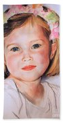 Pastel Portrait Of Girl With Flowers In Her Hair Beach Sheet