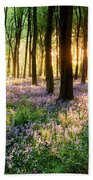 Sunrise Path Through Bluebell Woods Beach Towel