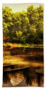 Patio Seating At The Nature Center Merged Image Beach Towel