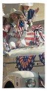Patriotic Cowgirls Firetruck July 4th Parade Prescott Arizona 2002 Beach Towel