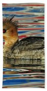 Patriotic Merganser Beach Towel