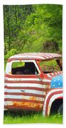 Patriotic Truck Beach Towel
