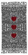 Pattern 34 - Heart Art - Black And White Exquisite Patterns By Sharon Cummings Beach Towel by Sharon Cummings