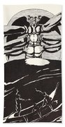 Pau Amma The Crab Rising Out Of The Sea As Tall As The Smoke Of Three Volcanoes Beach Towel
