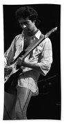 Paul At Work On His Guitar In 1977 Beach Towel