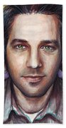 Paul Rudd Portrait Beach Towel by Olga Shvartsur