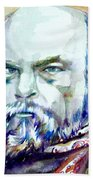 Paul Verlaine - Watercolor Portrait.1 Beach Towel