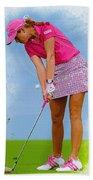 Paula Creamer In Actionon The Evian Masters Beach Towel