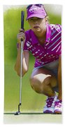 Paula Creamer Lines Up Her Putt Beach Towel