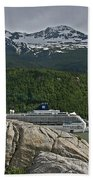 Pause In Wonder At Cruise Ships In Alaska Beach Towel by John Haldane