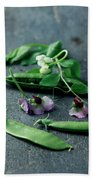 Pea Pods And Flowers Beach Sheet