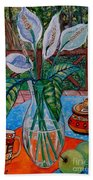 Peace Lilies On The Patio Beach Towel