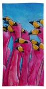 Peace Love And Flamingos Beach Towel by Patti Schermerhorn