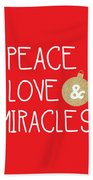 Peace Love And Miracles With Christmas Ornament Beach Sheet