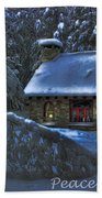 Peace On Earth Holiday Card Moonlight On Stone House.  Beach Towel