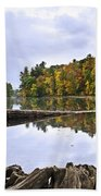 Peaceful Autumn Lake Beach Towel