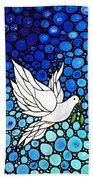Peaceful Journey - White Dove Peace Art Beach Towel by Sharon Cummings