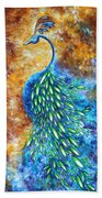 Peacock Abstract Bird Original Painting In Bloom By Madart Beach Towel
