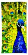 Peacock Abstract Realism Beach Towel