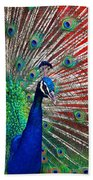 Peacock And Red Barn Beach Towel