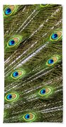 Peacock Feather Abstract Pattern Beach Towel