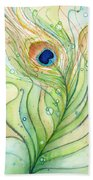 Peacock Feather Watercolor Beach Towel