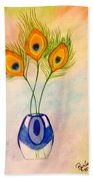 Peacock Feathers In A Vase Beach Towel