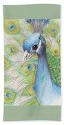 Peacock Portrait Beach Towel