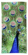 Peacock Smiles Beach Towel