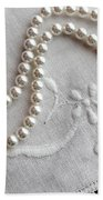 Pearls And Old Linen Beach Towel by Barbara Griffin