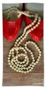 Pearls In Red Shoes Beach Towel