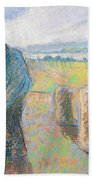 Peasants In The Fields Beach Towel by Camille Pissarro