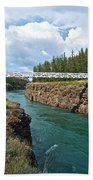 Pedestrian Bridge Over Yukon River In Miles Canyon Near Whitehorse-yk Beach Towel