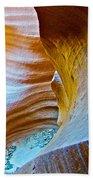 Peeking At Treasure In Lower Antelope Canyon In Lake Powell Navajo Tribal Park-arizona   Beach Towel