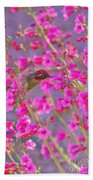 Peeking Through The Pink Penstemons Beach Towel
