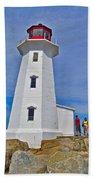 Peggy's Cove Lighthouse Closeup-ns Beach Towel