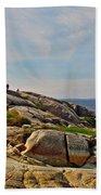 Peggy's Cove Lighthouse On The Rocks-ns Beach Towel