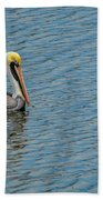 Pelican Drifting On Rippled Water Beach Towel
