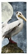 Pelican Night Beach Towel