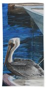 Pelican On A Boat Beach Towel