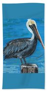 Pelican On Post Beach Towel