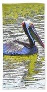 Pelican Reflections Beach Towel