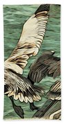 Pelican Take Off Two Beach Towel