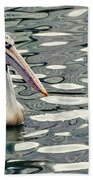 Pelican With Abstract Water Reflections I Beach Towel