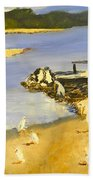 Pelicans On The Shore Beach Towel