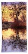 Pella Crossing Sunrise Reflections Hdr Beach Towel