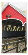 Pemigewasset River Covered Bridge In Fall Beach Towel