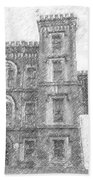Pencil Drawing Of Old Jail Beach Towel